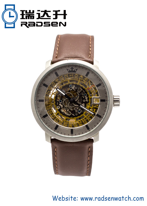Mens Automatic Watches Skeleton Mechanical with Brown Leather Strap