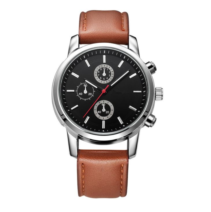 Men Leather Watch With Chronograph Dial