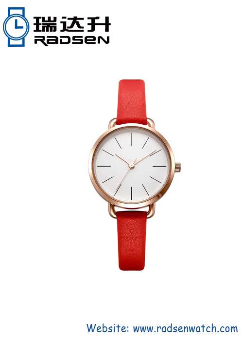 Round face leather strap watch for women