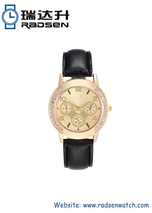 Crystal Women Watch With Fake Chronograph Eyes