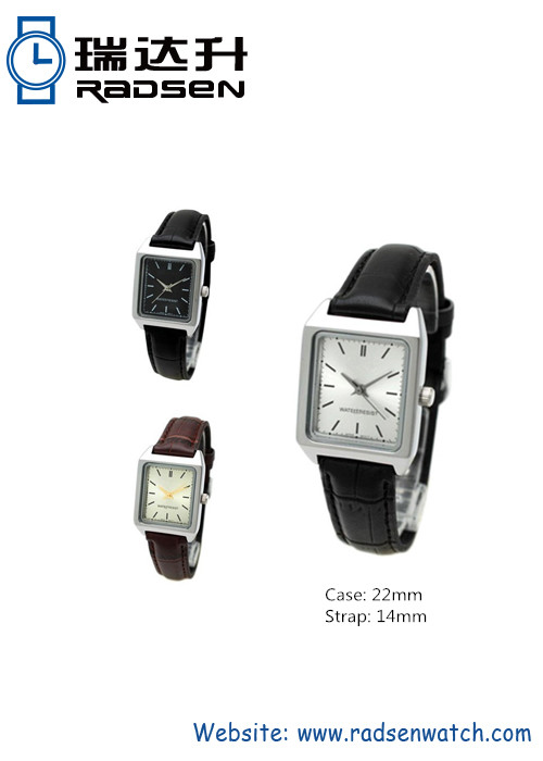 Women Square Face Wrist Watch With Leather Strap