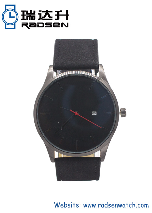 Fashion Mens Big Watches with Calendar and Leather Strap