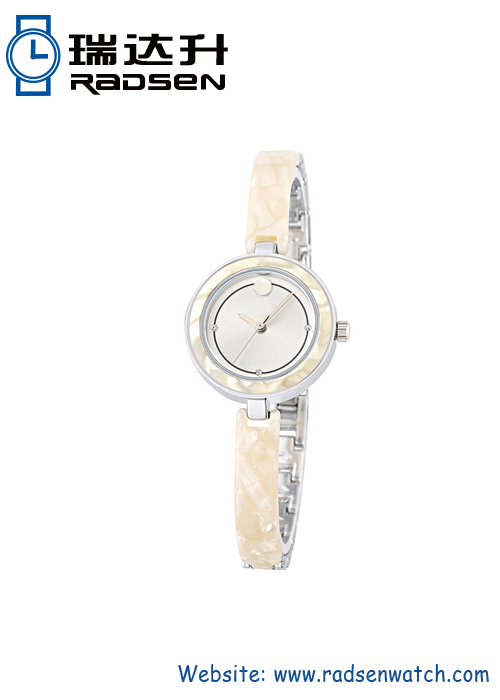 Acetate Watches With Glossy Resin Link To Metal Case Strap For Women In Different Colors