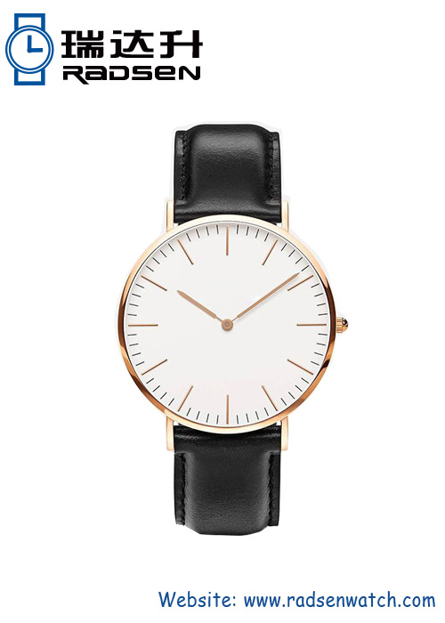 Popular Thin Mens Wrist Watches with Leather Strap