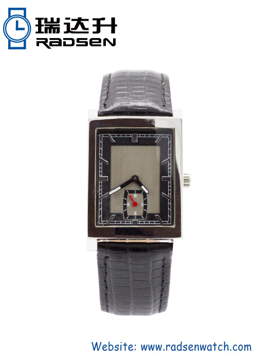 Stainless Steel Mens Watch Antique Square Face with Genuine Leather Band