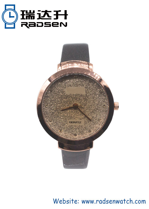 New Rose Gold Women Watches with Gold Crystal Powder on Dial