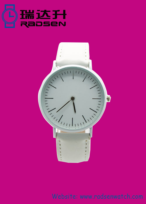 New Arrival All White Womens Watches with Leather Strap