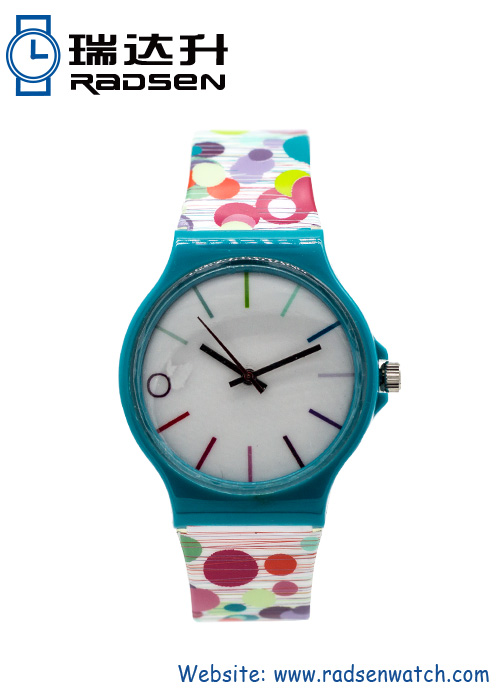 Fun Color Print Colorful Watches for Women with Pattern Printing on Strap