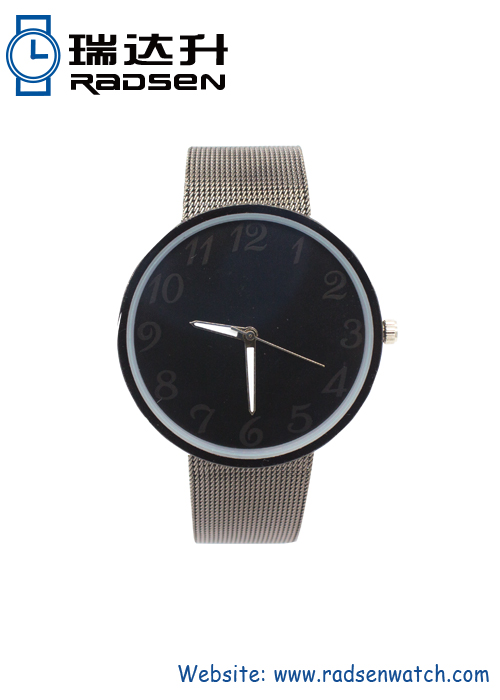 Gunmetal Grey Unisex Mesh Band Wrist Watches Easy Customer Design