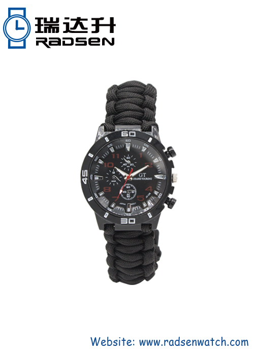 Paracord Survival Band Watch In Military Style For Outdoor