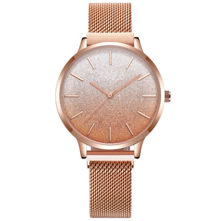 Magnetic Closure Mesh Band Watches With Glitter Face