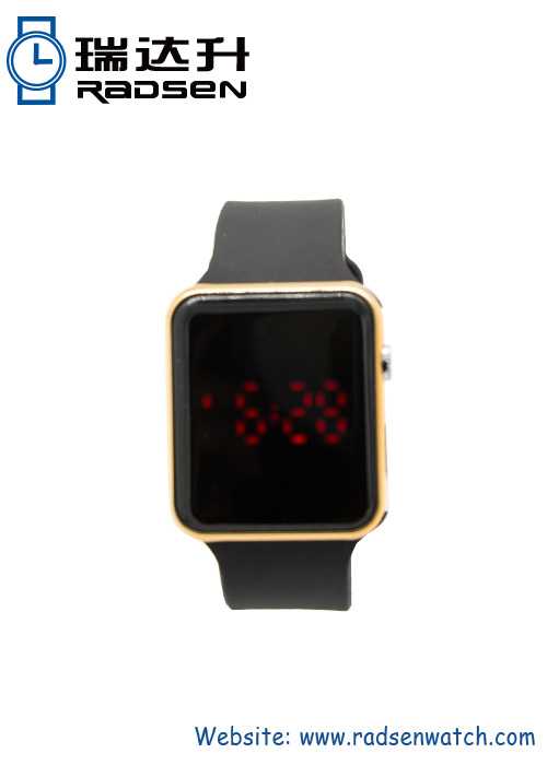 New Developed Apple Shaped LED Watch With Gold And Purple Case For Men