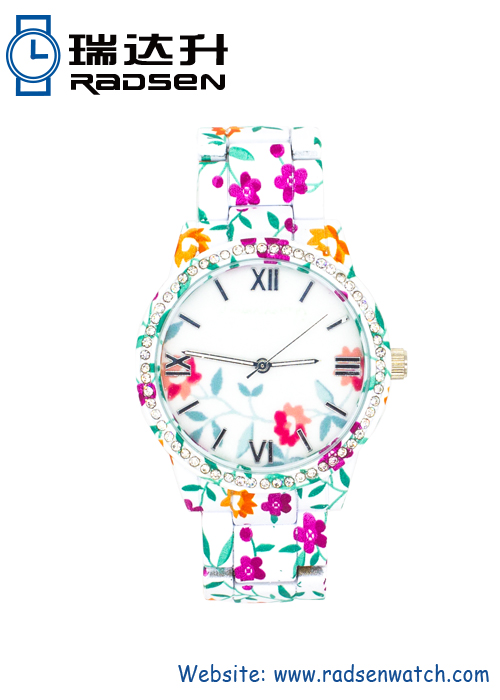 Metal Floral Print Watches for Women with Floral Face