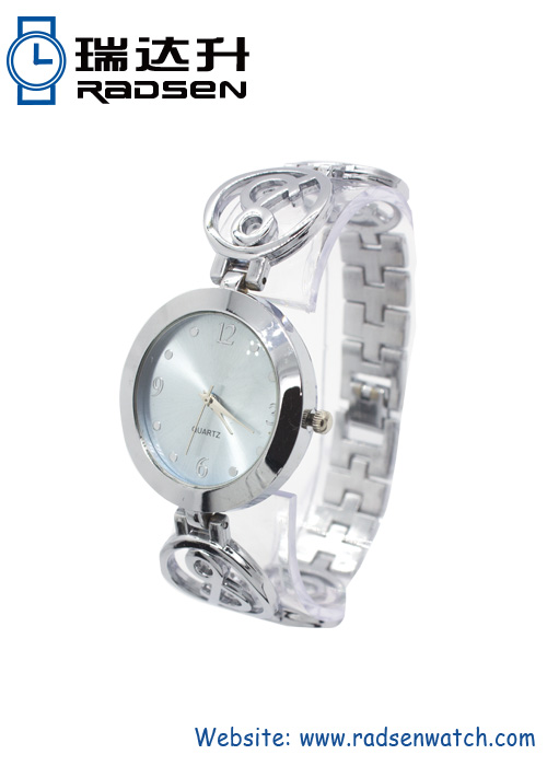 Silver Womens Bangle Bracelet Watches for Ladies with Flower Metal Strap