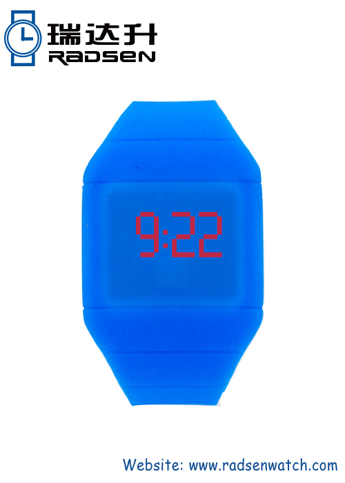 Blue Silicone Cheap LED Digital Touch Watches with Eco-friendly Material