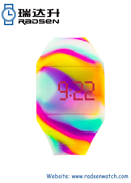 Mens LED Watches Swirl Color for Bracelet In Unique Color Design