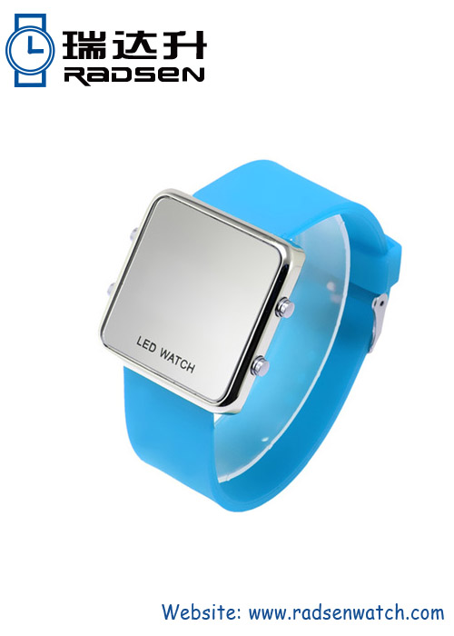 New Novelty Mirror Watches LED Display Watches with Silicone Band