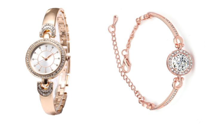 Bangle Jewelry Watch Set With Crystals