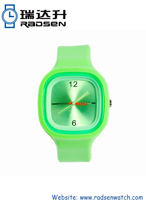 Silicone Jelly Watches with Green Big Face Perfect For Promotion Gift