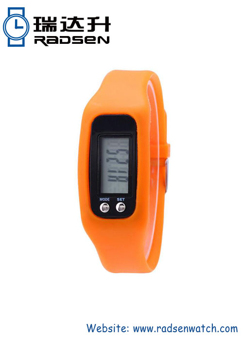 Cheap Pedometer Watch Step Counter Wristband with Silicone Rubber Strap