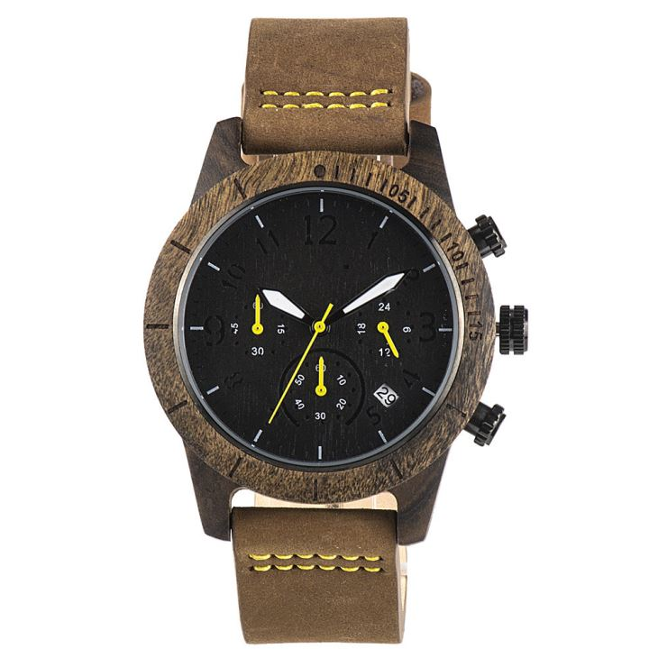 Wood Watch With Chronograph Dial And Leather Strap