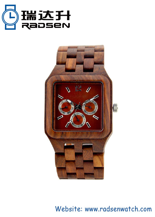 Natural Wood Chronos Watches Square Face in Wine Red Color