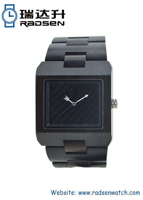 Black Good Wood Cube Watch with Arrow Hands for Mens