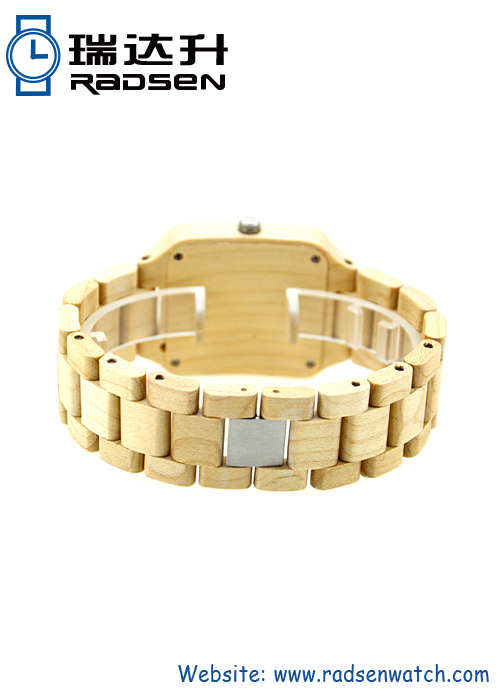 Mens Wood Grain Bands Watches with Date with Square Face