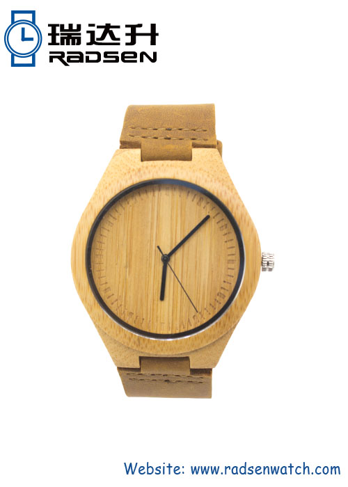 China Factory Bamboo Wood Watches with Leather Band