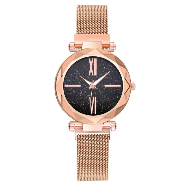 Women magnet closure mesh band watches