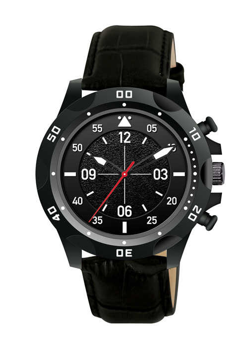 Big black face men watches with leather strap