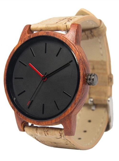 Wood Watch with wood texture leather strap