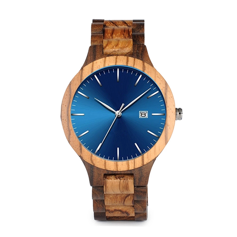 Zebra wood watch with calendar