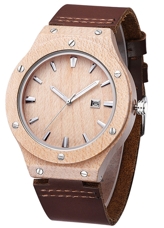 Wood leather strap watch with date